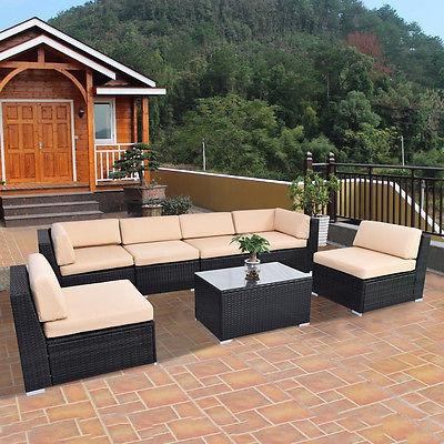 7 Piezas Patio Al Aire Libre Sofá Muebles Mimbre Cubierta - $ 3.000 ...