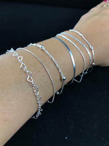 7 pulseiras prata maciça 925 laminada bolinha elo