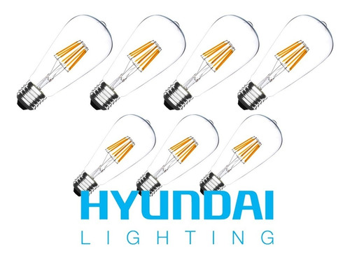 7 x ampolleta led edison vintage 6w retro hyundai lighting