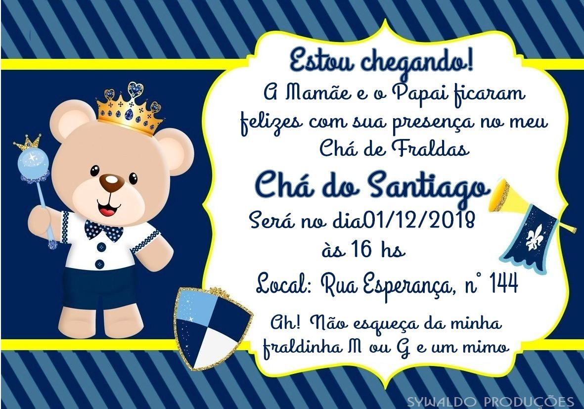 70 Convite Chá De Bebê Ursinho Príncipe R 4900 Em Mercado Livre