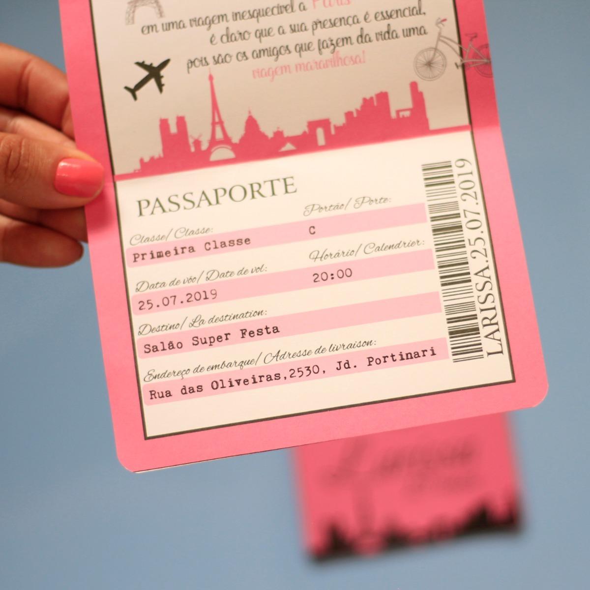 70 Convite Criativo 15 Anos Passaporte Paris Rosa Preto R 119