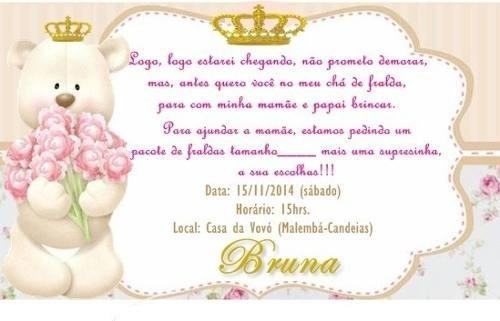Tag Texto Para Convite De Cha De Bebe Princesa