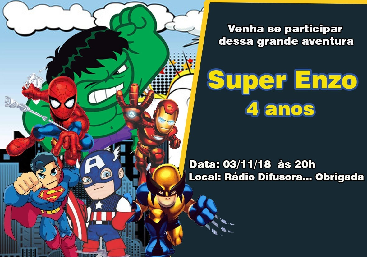 70 Convites Super Herois 7x10 Personalizados R 7000 Em Mercado Livre