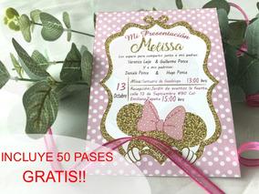 70 Invitaciones Minnie Rosa Dorado Niña Bautizo Presentacion