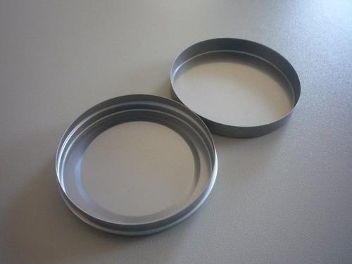 70 latinhas 5x1 de metal redonda na cor prata