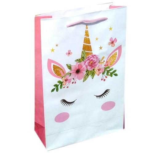 70 sacolas papel unicórnio 25x17x6cm bolsa festa lembrança