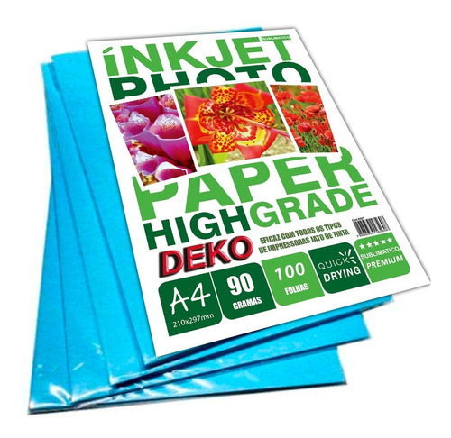 700folhas papel tratado sublimatico a4 90g branco funco azul