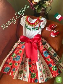 710 Años Trajes Vestido Mexicano Con Moño