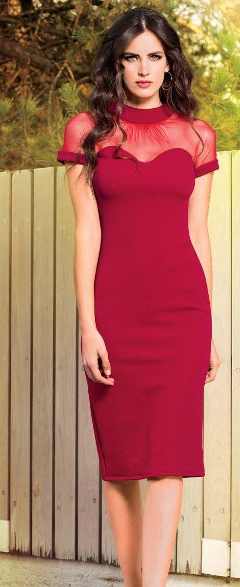 0fb9782907 71359 Vestido Vicky Form Sexy Casual Rojo Transparente Tubo ...