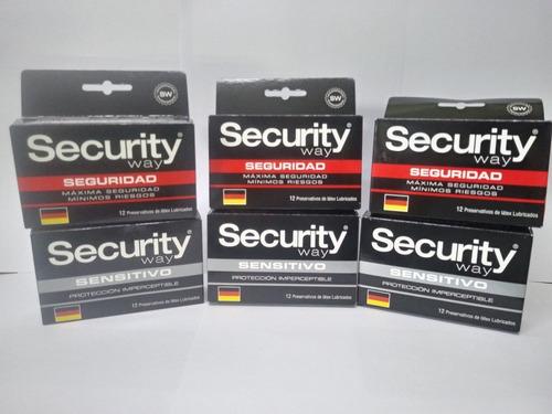 72 preservativos security way con envío gratis (variedades)