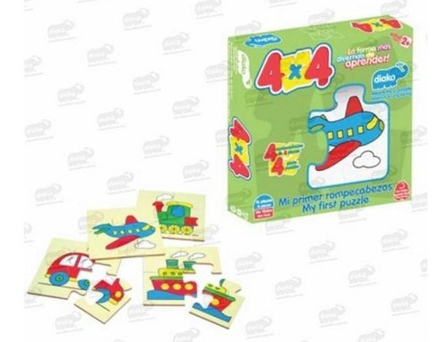 7224t transportes rompecabezas 4x4 madera 16 piezas diako 2+