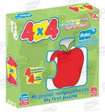 7225-f frutas rompecabezas 4x4 de madera 16 piezas educar