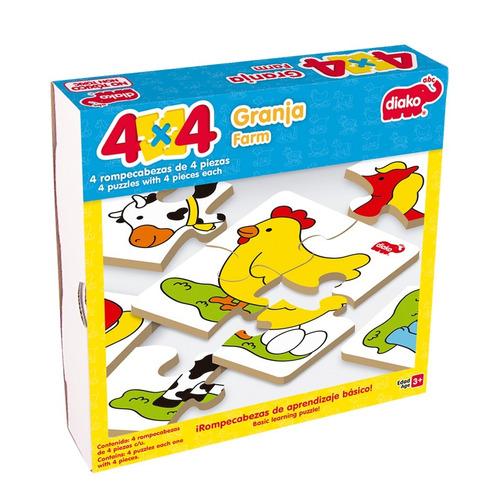 7226-g granja 4x4 rompecabezas de madera 16 piezas educar