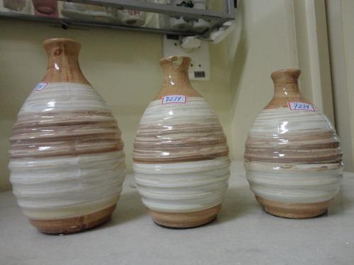 #7234# trio vasos de cerâmica decorativos, bege!!!