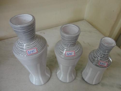 #7245# trio vasos de cerâmica decorativos, cinza!!!