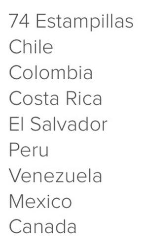 74 estampillas filatelia chile colombia costa rica peru etc