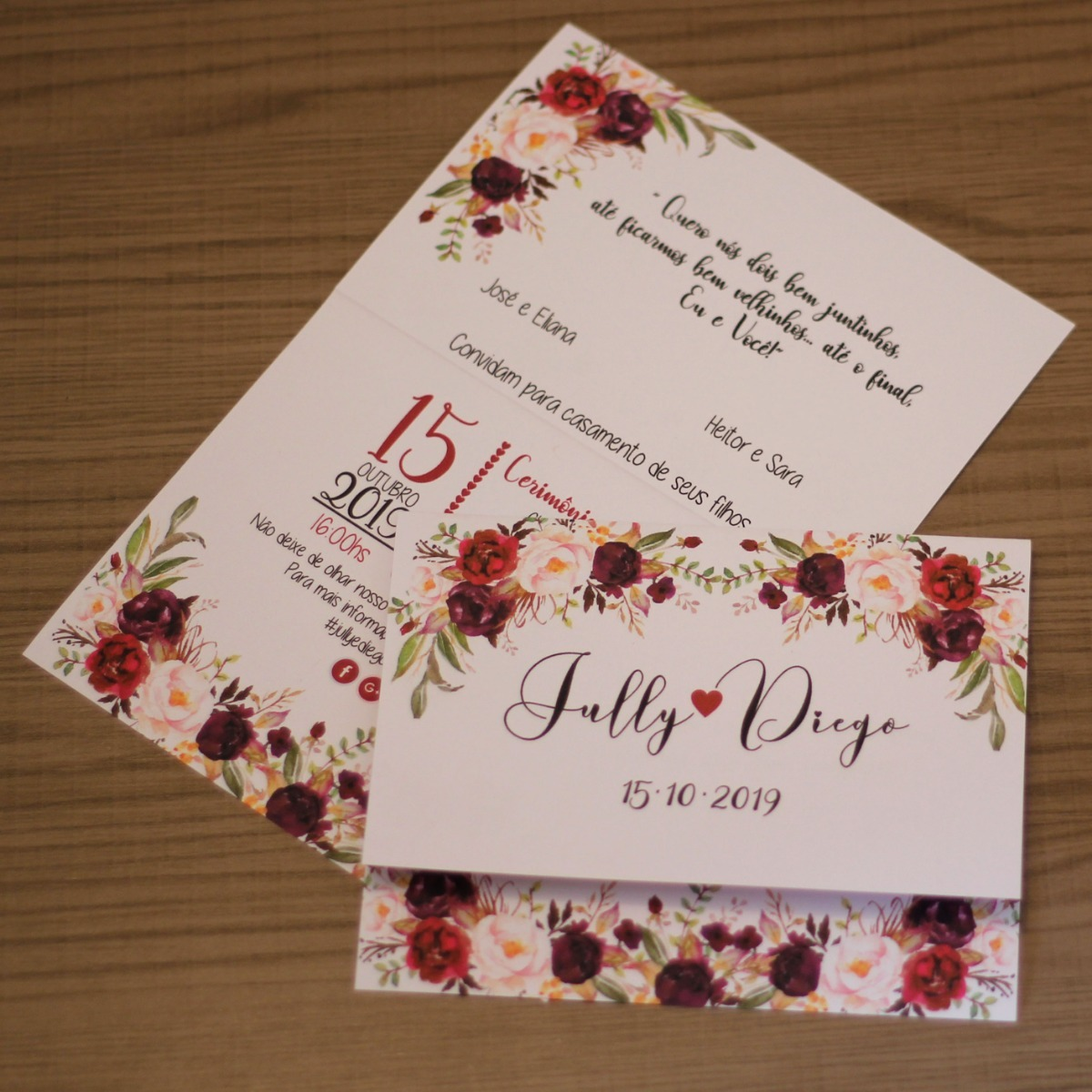 75 Convite Casamento Marsala Noivado Flores Barato Simples R 80