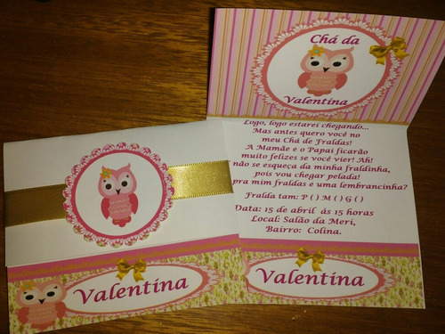 75 convites chá de bebê, aniv. com envelope personalizados