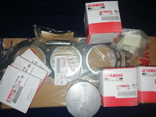 75hp yamaha 3 kit de piston + empacadura de cámara original