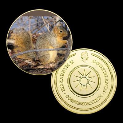 7649a - esquilo da polônia - banhada a ouro 24 k - 40 mm