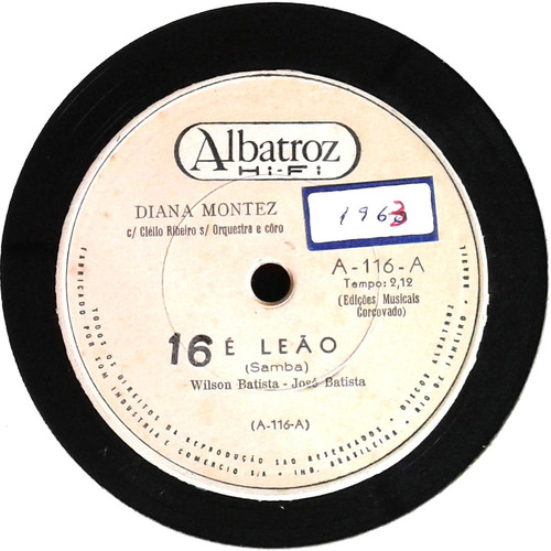78 rpm diana montez 1962 selo albatroz a116