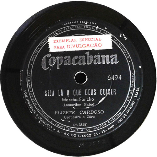 78 rpm elizete cardoso 1963 selo copacabana 6494