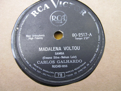 78 rpm jorge veiga marcha cha + carlos galhardo madalena rca