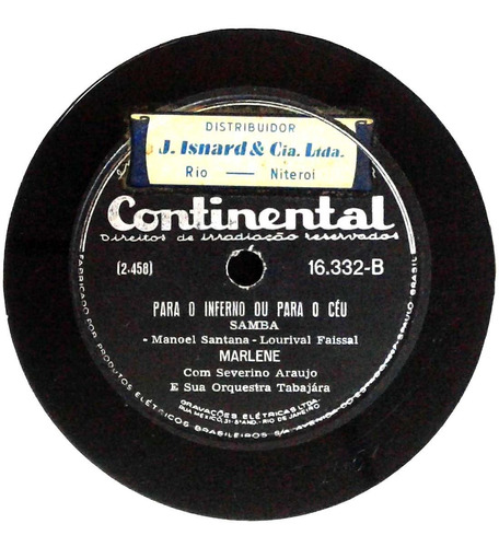 78 rpm marlene 1950 selo continental 16332
