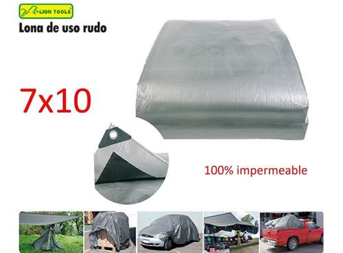 7x10 lona uso rudo  reforzada color gris impermeable  sps