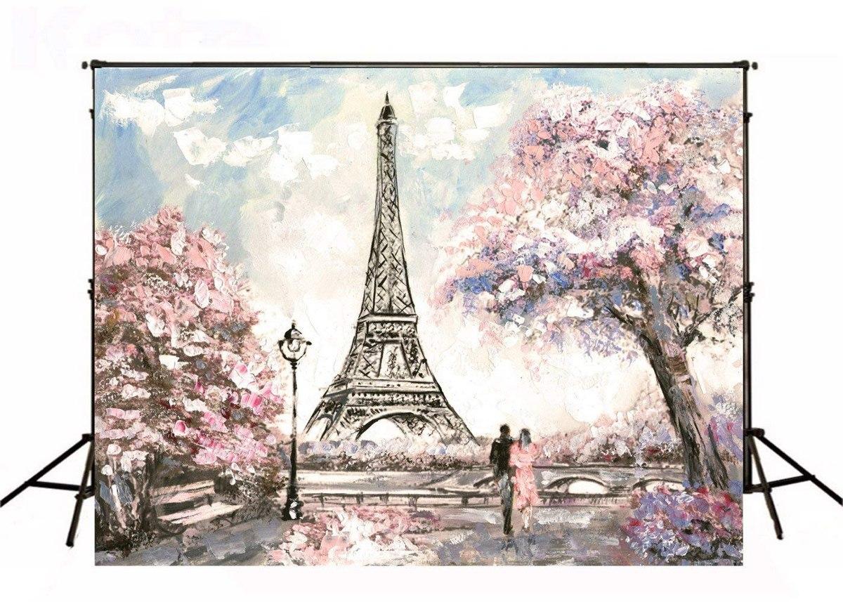 7x5ft Estudio Fotografía Fondos Torre Eiffel Flores