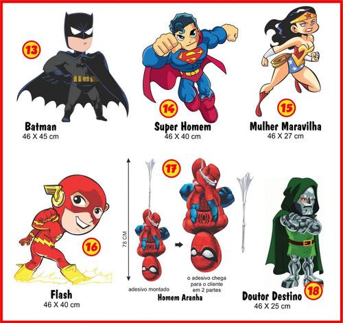 8 adesivos super heróis marvel kids nome brinde frete gratis