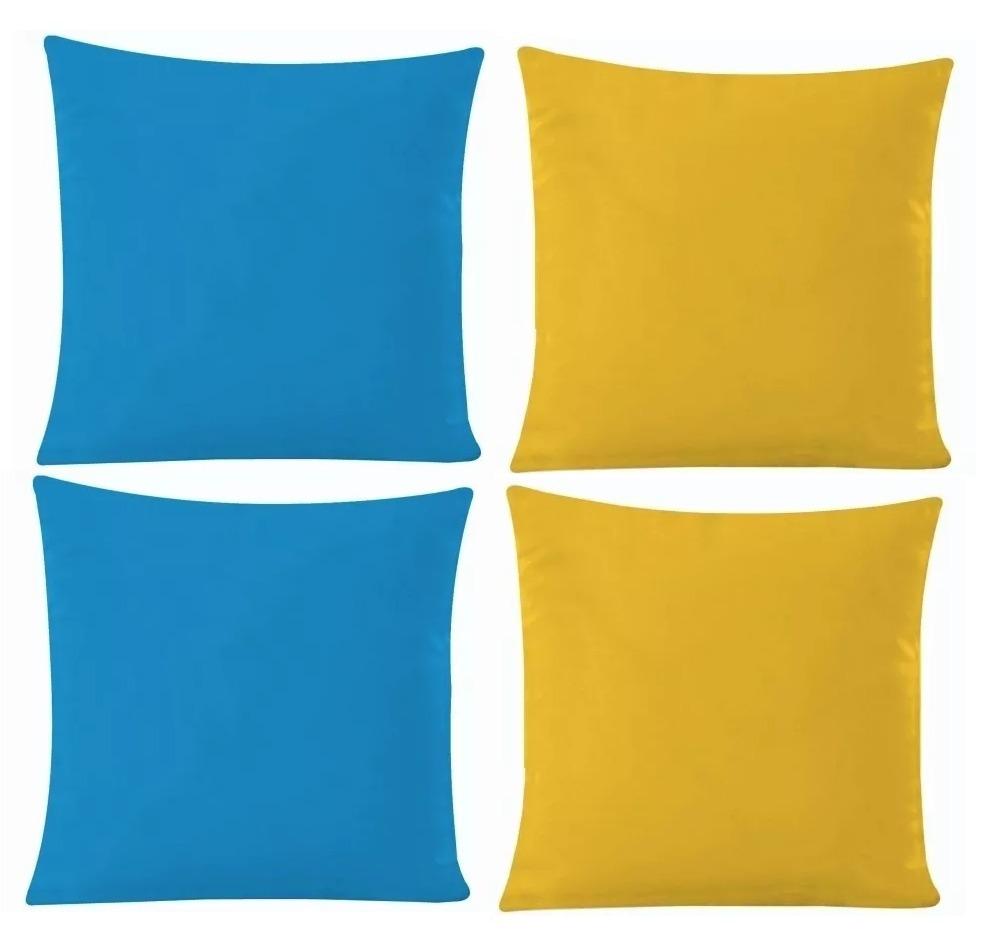 7ca9747d902fba 8 Almofadas C/ Ziper Oxford Azul Turquesa E Amarelo Ouro