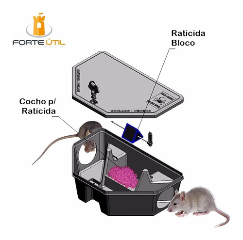 8 armadilhas p/ rato gabiru porta iscas p/ veneno raticida