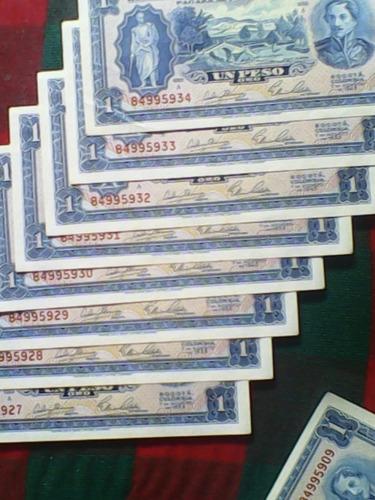8 billetes de un peso consecutivos 7 de agosto del 53 nuevos