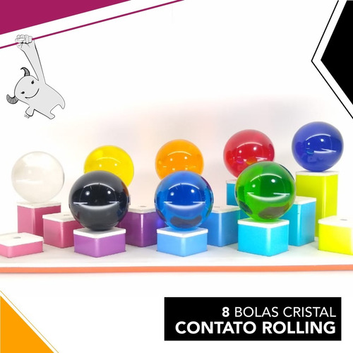 8 bolas cristal 70 mm para contato rolling - malabares