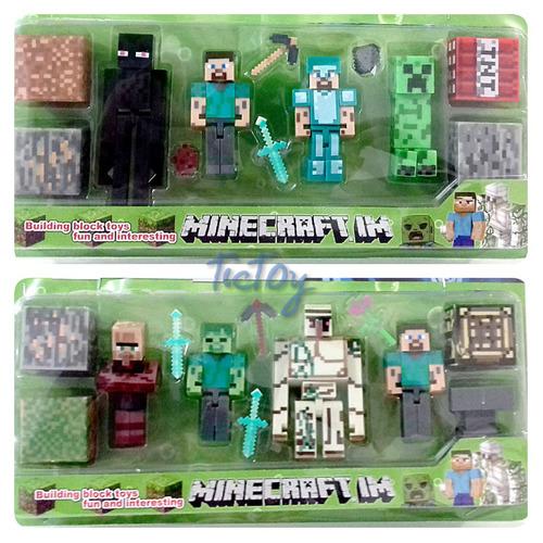 8 bonecos minecraft  + 16 itens / cubos / espadas /  7cm