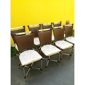 8 Cadeira De Fibra Sintética Aluminio Junco Vime