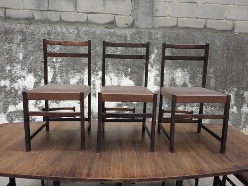 8 cadeiras anos 60/70 jacarandá designer