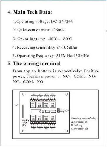 8 canales receptor relé remoto en 433 mhz y control sensor