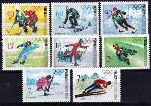 8 Estampillas De Polonia Juegos Olimpicos Invierno Ano 1968 185