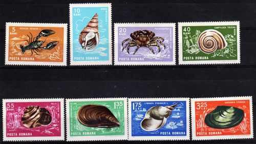 8 estampillas rumania tema caracoles y crustaceos año 1966
