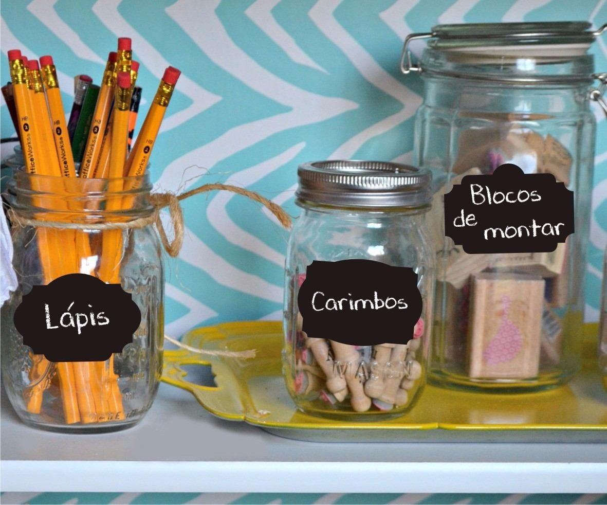 8 Etiquetas Adesivo Lousa Decorativo Vidro Potes Cozinha R 14  ~ Potes Decorativos Para Cozinha
