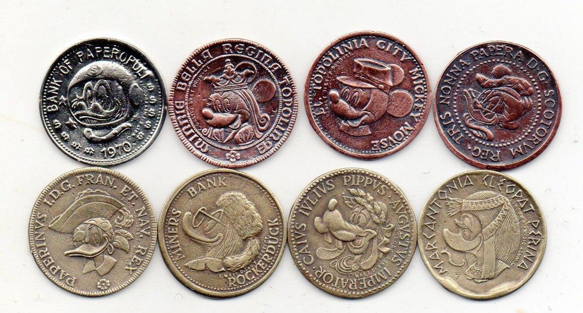 7ba0fcb0f38 8 fichas moedas disney(italianas)réplicas em metal c  banho. Carregando  zoom.
