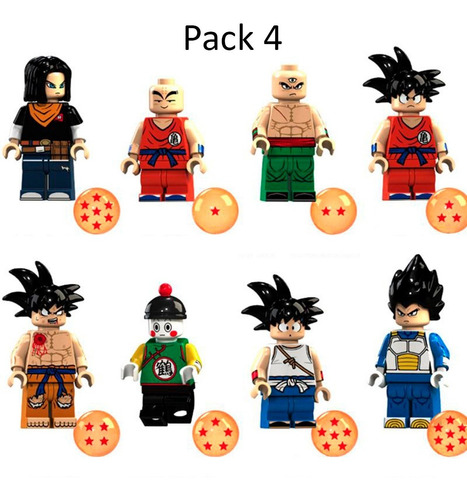 8 figuras dragon ball compatible con lego + esferas