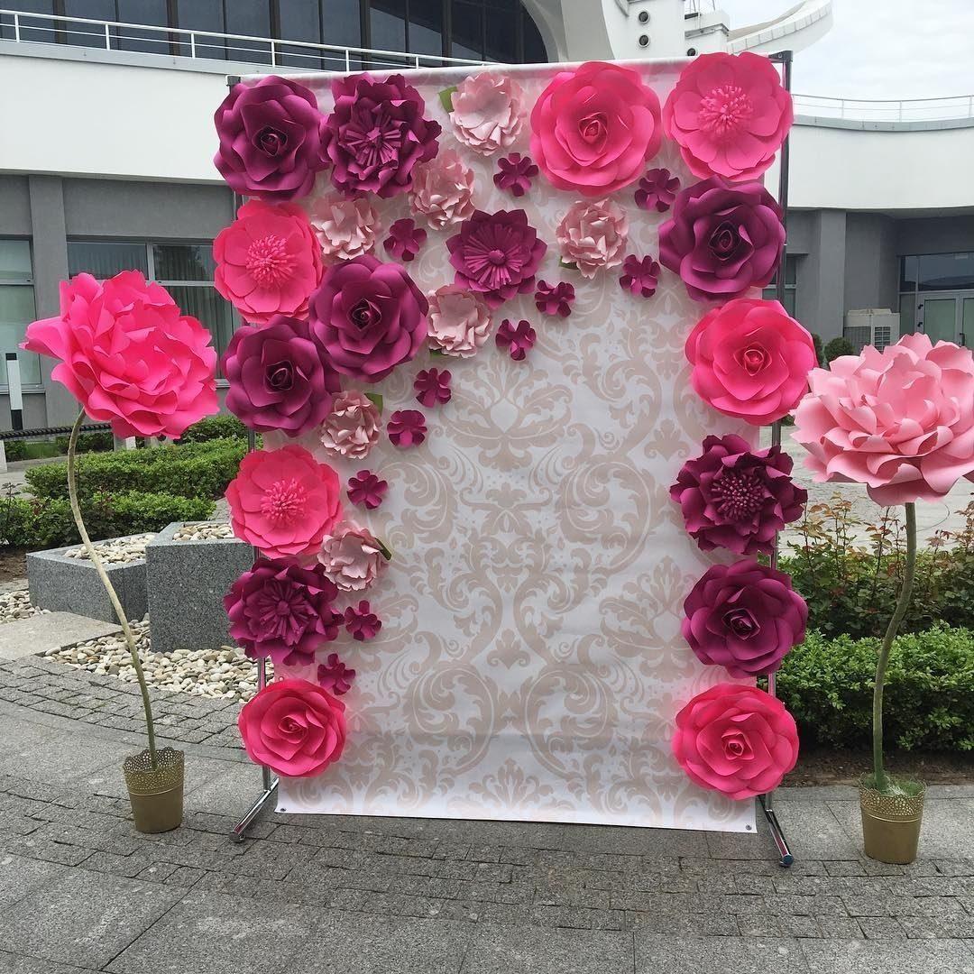 8 Flores Gigante De Papel 30cmx30cm Decoraçao Festas Bebe R$ 118,12 em Mercado Livre
