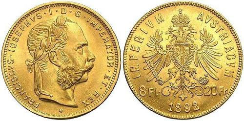 8 florines / 4 francos 6.5 gramos austria moneda oro 1892