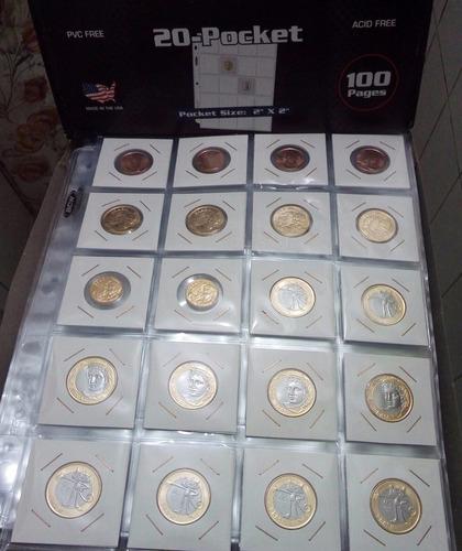 8 folhas para album moedas/coin holder 20 divisões