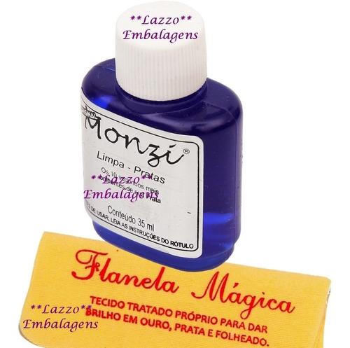 8 frascos de monzi prata 35ml com 8 flanela magica atacado