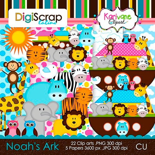 8 kits scrapbook digital - arca de noé + envio 10 min