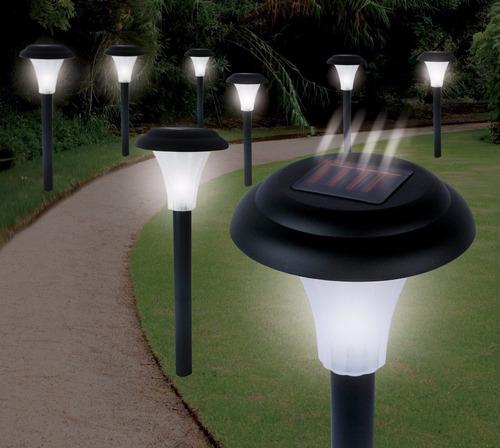 8 lamparas de jardín led negro solar para exterior